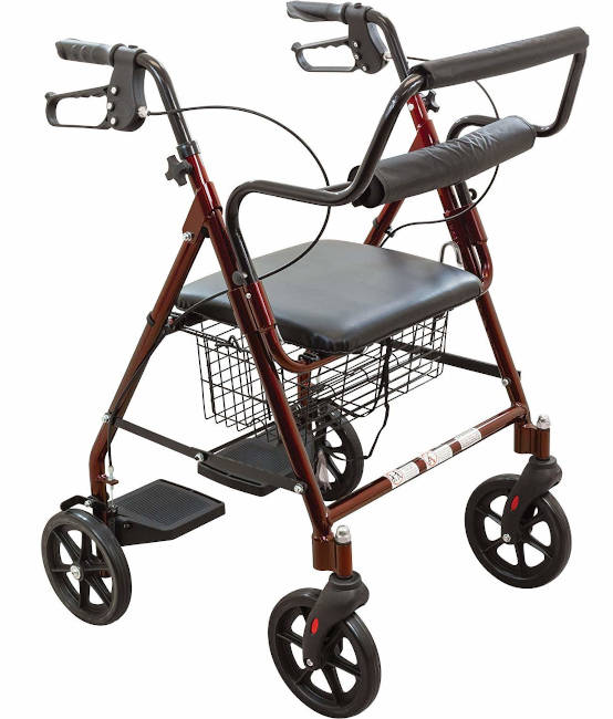 ProBasics Transport Rollator Walker with Seat and Wheels