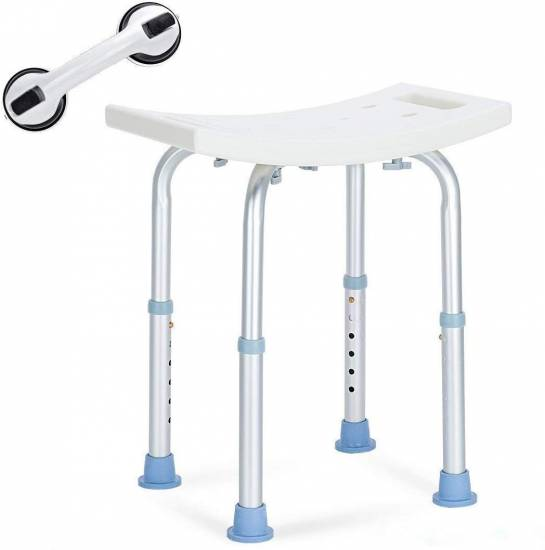 OasisSpace Shower Chair, Adjustable Bath Stool with Free Assist Grab Bar